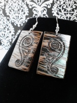 Zebra Wood Laser Engraved Earrings - Hand cut, sanded & varnished