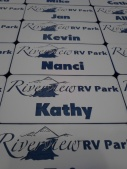 Custom Logo Personalized Name Tags on 2 tone acrylic with magnet clasp