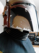 Mandolorian Neck Seal with Bib, materials include cotton cord, black vinyl and canvas
