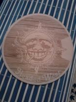 """Wood Veneer Sticker with Logo. Hickory veneer with 3M backing, measures 4"""" Diameter."""