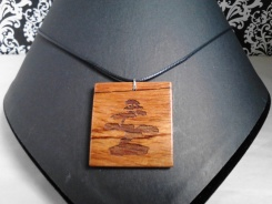 Natural African Mahogany Bonsai Etched Necklace