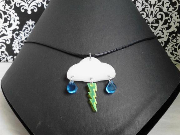 Lightning Bolt Cloude Rain Necklace