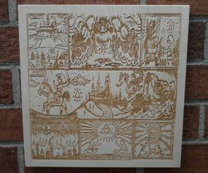 Legend of Zelda Prologue Scroll Engraved Hanging Picture