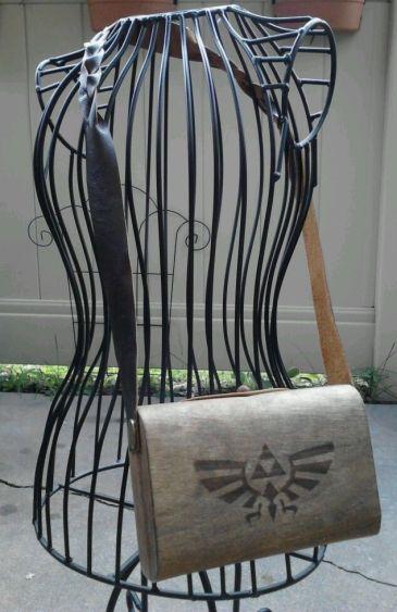 Wood Veneer and Leather Zelda Triforce Eagle Side Bag Purse