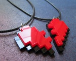 Friendship Pixel Heart Set of 2 Necklaces 8 Bit Puzzle Broken Heart (3)