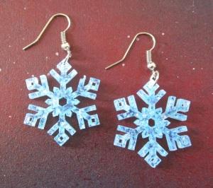 Frozen Snowflake Crystal Earrings in Glitter Blue or Frosty White