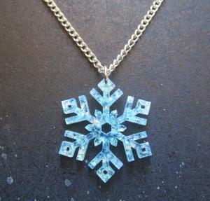 frozen snowflake glitter blue necklace silver chain