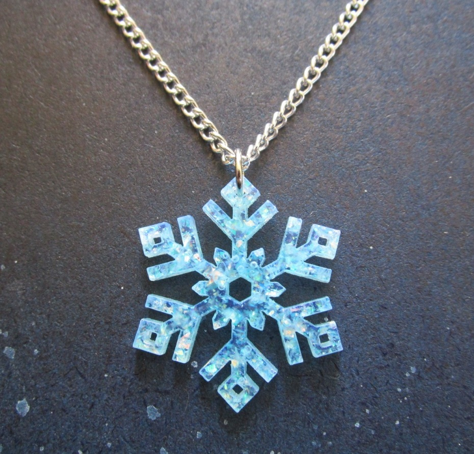 frozen snowflake glitter blue necklace silver chain