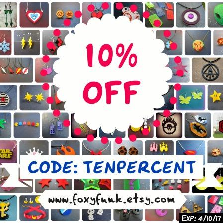 10% Off code: TENPERCENT at www.foxyfunk.etsy.com Expires 4/10/17
