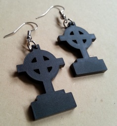 Gravestone Earrings Halloween RIP Christian Circle Cross Dangle Earrings (1)