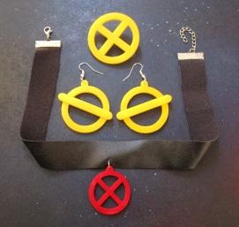 Jubilee Cosplay jewelry set, earring, necklace, brooch x symbol x-men costume (2)