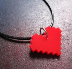 Pixel 8 bit red minecraft heart necklace (2)